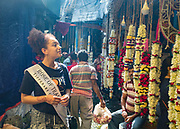 Rose of Tralee Kirsten Mate Maher visiting a Howrah Flower market in Kolkata in India. Picture:Arthur Carron