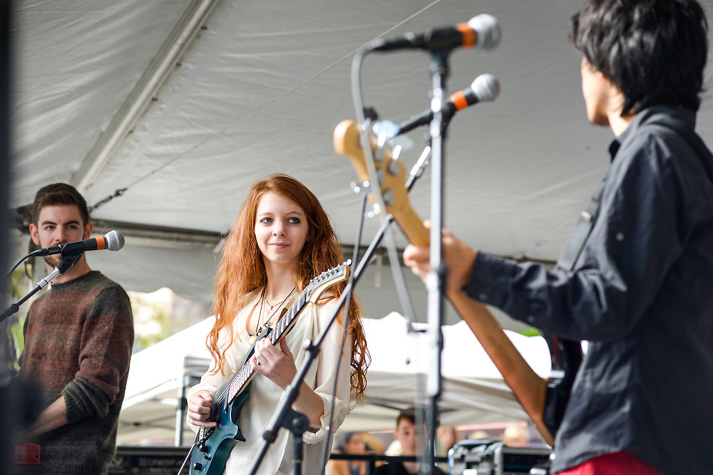 Maddie Rice performs with her band on the Berklee Stage at the Boston Book Festival in Boston's Copley Square.
