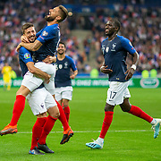 PARIS, FRANCE - September 10: Clement Lenglet #19 of France is congratulated by Olivier Giroud #9 of France and Moussa Sissoko #17 of France after scoring his sides second goal during the France V Andorra, UEFA European Championship 2020 Qualifying match at Stade de France on September 10th 2019 in Paris, France (Photo by Tim Clayton/Corbis via Getty Images)
