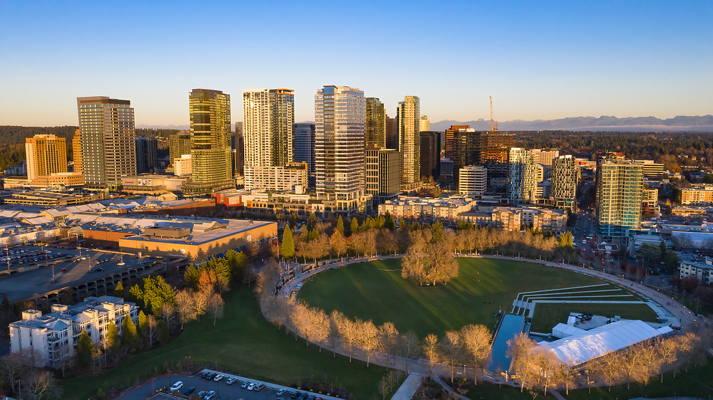 United States, Washington, Bellevue, Downtown Park and skyline  (aerial view)