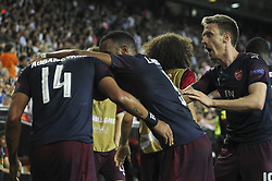 May 9, 2019 - Valencia, Valencia, Spain - Aubamenyang, Lacazette and Monreal of Arsenal in action during UEFA Europa League football match, between Valencia and Arsenal, May 09th, in Mestalla stadium in Valencia, Spain. (Credit Image: © AFP7 via ZUMA Wire)