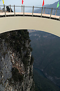 CHONGQING, CHINA - FEBRUARY 11: (CHINA OUT) <br /> <br /> View Corridor Is To Open At Longgang Scenic Spot<br /> <br /> A view corridor gets built at Longgang scenic spot with a total investment of more than 35 million RMB (about 5.6 million USD) on February 11, 2015 in Chongqing, Sichuan province of China. A view corridor made with steel box girder construction built at an altitude of 1,123 meters, which is expected to open in May, 2015.<br /> ©Exclusivepix Media
