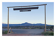 Cero Pedernal framed by the gate to Ghost Ranch, Piedra Lumbre Basin.