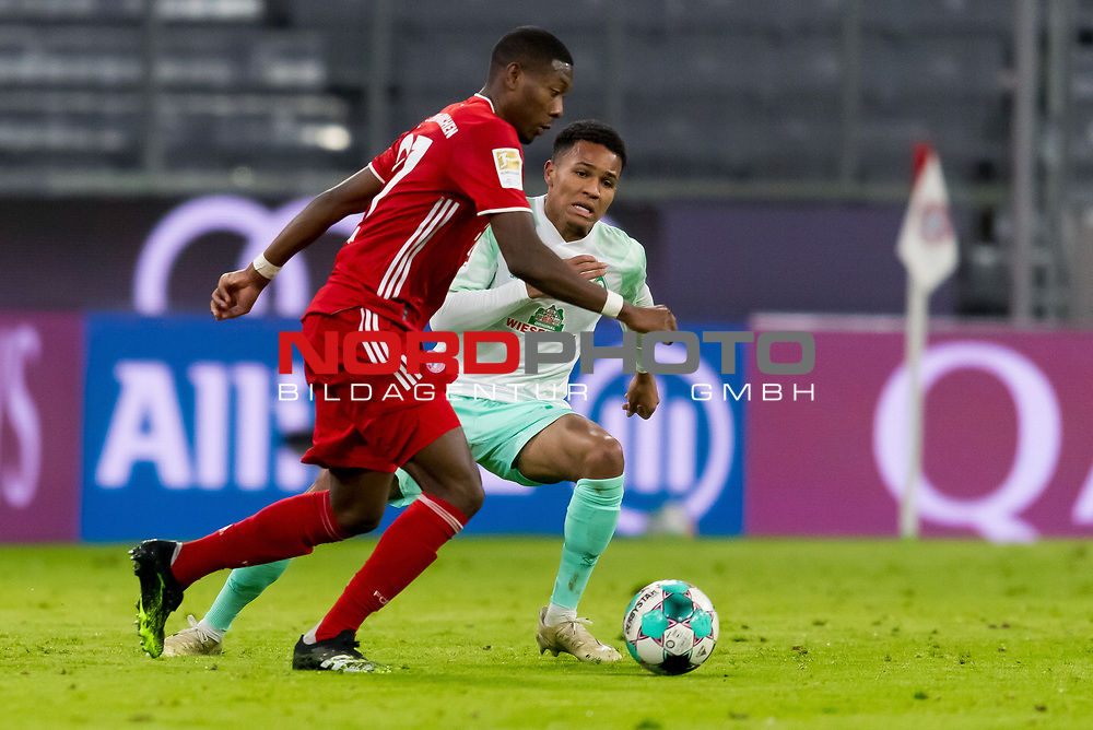 21.11.2020, Allianz Arena, Muenchen, GER,  FC Bayern Muenchen SV Werder Bremen <br /> <br /> <br />  im Bild David Alaba (FCB #27) im kampf mit Felix Agu (SV Werder Bremen #17) <br /> <br /> <br /> <br /> Foto © nordphoto / Straubmeier / Pool/ <br /> <br /> DFL regulations prohibit any use of photographs as image sequences and / or quasi-video.