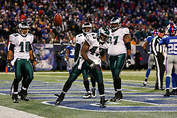 Philadelphia Eagles FB Leonard Weaver #43 spikes the ball after scoring a touchdown during the NFL game between the Philadelphia Eagles and the New York Giants on December 13th 2009. The Eagles won 45-38 at Giants Stadium in East Rutherford, New Jersey. (Photo By Brian Garfinkel)