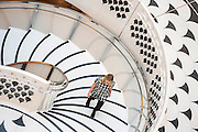 The Tate Britain re-opens after a major refurbishment of its interior, around the front entrance. This includes a new spiral staircase designed by architects Caruso Saint John, a new members area in the Gallery of the Rotunda and the refurbishment of the Rex Whistler tapestry and restaurant. Tate Britain, Millbank, London, UK.