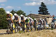 France, Grabels, 7 July 2009: Team Columbia - High Road head out of  Grabels during Stage 4 of the 2009 Tour de France cycle race. This stage was the Team Time Trial and started and ended in Montpellier and was 39km long. Photo by Peter Horrell / http://peterhorrell.com .