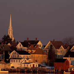 The North Church rises above Portsmouth's South End.  Portsmouth, NH