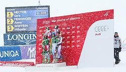 28.12.2014, Hohe Mut, Kühtai, AUT, FIS Ski Weltcup, Kühtai, Riesenslalom, Damen, Siegerehrung, im Bild v.l.: zweite Anna Fenninger (AUT), Siegerin Sara Hector (SWE) und dritte Mikaela Shiffrin (USA) // f.l.: second placed Anna Fenninger of Austria, Winner Sara Hector of Sweden ad third placed Mikaela Shiffrin of the USA celebrates on Podium during the award ceremony afterLadies Giant Slalom of the Kuehtai FIS Ski Alpine World Cup at the Hohe Mut Course in Kuehtai, Austria on 2014/12/28. EXPA Pictures © 2014, PhotoCredit: EXPA/ JFK