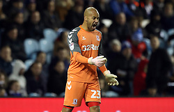 Middlesbrough goalkeeper Darren Randolph seems frustrated with his team-mates