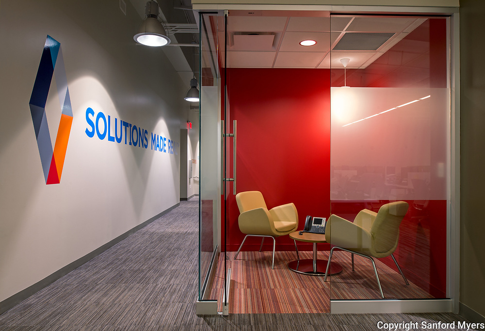 A meeting space in a commercial interior photographed by Sanford Myers in Nashville, TN.