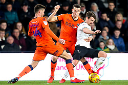 Craig Bryson of Derby County takes on Murray Wallace and Ben Marshall of Millwall - Mandatory by-line: Robbie Stephenson/JMP - 20/02/2019 - FOOTBALL - Pride Park Stadium - Derby, England - Derby County v Millwall - Sky Bet Championship