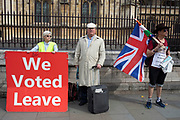 Pro Brexit Leave campaign protesters with messages that We Voted Leave and General Election Now in Westminster on the day after Parliament voted to take control of Parliamentary proceedings and prior to a vote on a bill to prevent the UK leaving the EU without a deal at the end of October, on 5th September 2019 in London, England, United Kingdom. Yesterday Prime Minister Boris Johnson faced a showdown after he threatened rebel Conservative MPs who vote against him with deselection, and vowed to aim for a snap general election if MPs succeed in a bid to take control of parliamentary proceedings to allow them to discuss legislation to block a no-deal Brexit.
