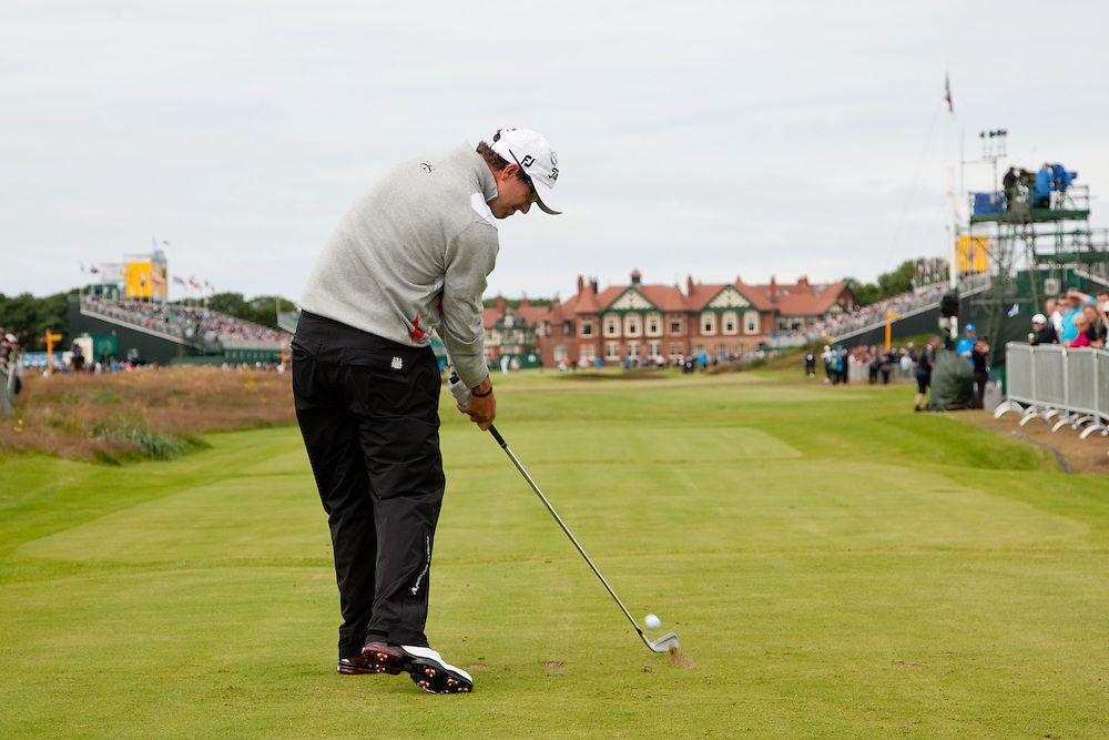 LYTHAM ST. ANNES, ENGLAND - JULY 19:  Adam Scott of Australia plays a tee shot during the first round of the 141st Open Championship at Royal Lytham St Annes Golf Club in in Lytham St. Annes, England on July 19, 2012. (Photograph ©2012 Darren Carroll) *** Local Caption *** Adam Scott