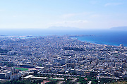 View over densely built up city of Trapani, Sicily, Italy