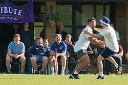 Ellis Genge of Bristol Rugby celebrates taking a catch with Auguy Slowik during an exhibition cricket game with Bishopston Cricket Club - Photo mandatory by-line: Dougie Allward/JMP - Mobile: 07966 386802 - 29/07/2015 - SPORT - Cricket - Bristol - Westbury Fields - Bishopston CC v Bristol Rugby - Exhibition Game