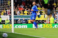Cardiff City striker Kenneth Zohore (10) shoots wide during the EFL Sky Bet Championship match between Burton Albion and Cardiff City at the Pirelli Stadium, Burton upon Trent, England on 5 August 2017. Photo by Richard Holmes.