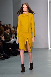 © Licensed to London News Pictures. 20/02/2016.Model on the catwalk at the JASPER CONRAN Autumn/Winter 2016 show. Models, buyers, celebrities and the stylish descend upon London Fashion Week for the Autumn/Winters 2016 clothes collection shows. London, UK. Photo credit: Ray Tang/LNP