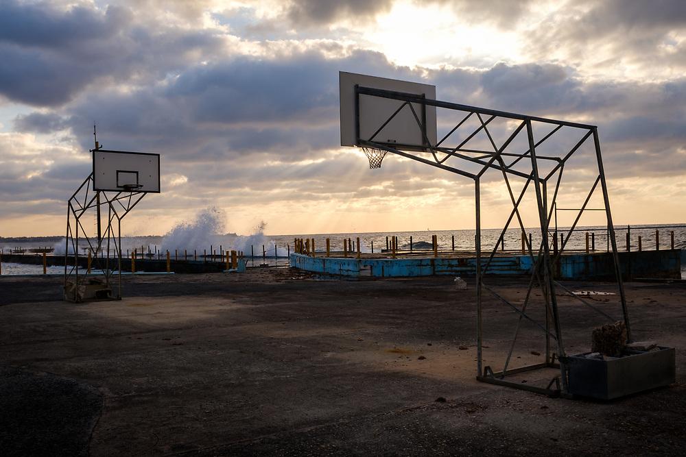 HAVANA, CUBA - CIRCA MARCH 2017: Abandonded basketball court in Havana.