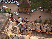 Tourists climb the Shwesandaw pagoda to watch the sunset at Bagan, Myanmar