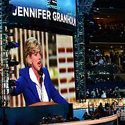 Former Michigan Governor and political commentator Jennifer Granholm speaks at the 2012 Democratic National Convention