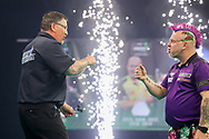 Gary Anderson celebrates winning his match against Peter Wright during the PDC Premier League Darts Night 11 at Marshall Arena, Milton Keynes, United Kingdom on 6 May 2021.