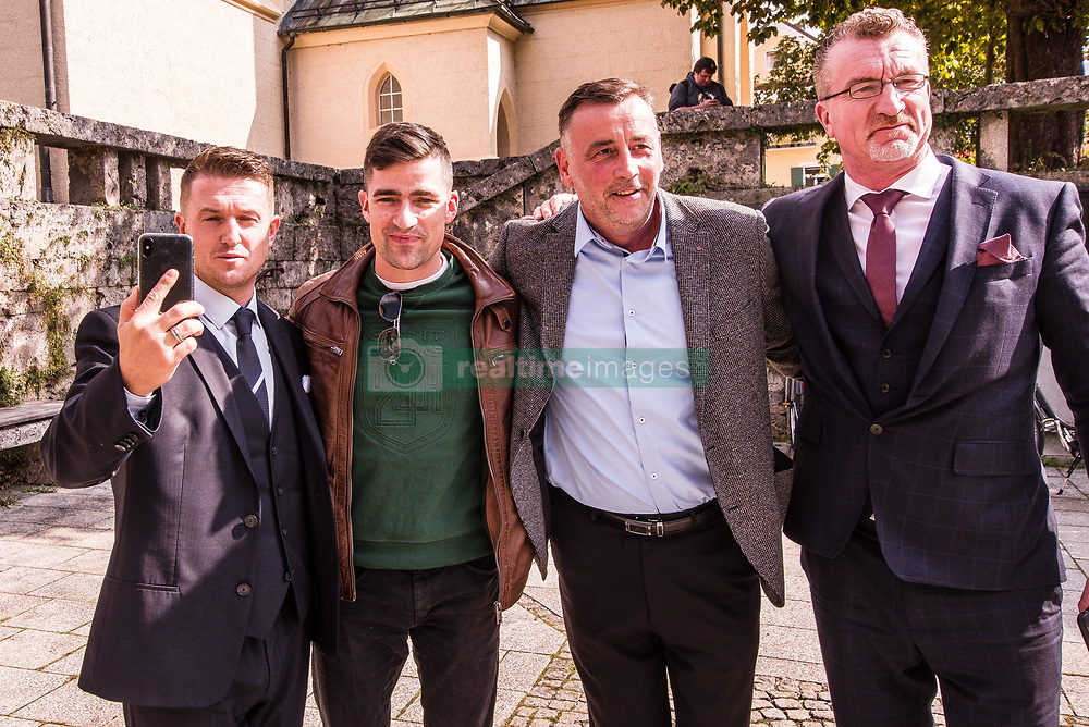 """September 29, 2018 - Garmisch Partenkirchen, Bavaria, Germany - EDL founder TOMMY ROBINSON with Austrian right-extremist and head of the Identitaeren Movement MARTIN SELLNER and Pegida founder LUTZ BACHMANN.  Sellner is also associated with white supremacists in the United States and Canada. Adding themselves to the """"who's who"""" list of of several hundred right-extremists from Germany, Austria, Switzerland, and other countries, Tommy Robinson, founder of the British EDL, Lutz Bachmann, grounder of Germany's Pegida, and Martin Sellner of the Identitaere Bewegung were guests as the Compact Konferenz held in the international tourist town of Garmisch Partenkirchen in southern Bavaria.  The conferences are held by Juergen Elsaesser, founder of Compact magazine, a publication designed for right-extremists, conspiracy theorists, and right-wing sovereign citizens (Reichsbuerger).  The venue was the ironically-named Gasthof zum Rassen, which residents state has hosted numerous, unwanted far-right and right-extreme events in the village.  The city government is furthermore relatively quiet about such events, as stated by residents """"they are afraid tourists will find out"""".  Despite this, a spontaneous demonstration by residents took place. (Credit Image: © Sachelle Babbar/ZUMA Wire)"""
