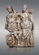Roman Sebasteion relief  sculpture of Nero being crowned emperor by Agrippina, Aphrodisias Museum, Aphrodisias, Turkey. <br /> <br /> Agrippina crowns her young son Nero with a laurel wreath. She carries a cornucopia, a symbol of Fortune and Plenty, and he wears the armour and cloak of a Roman commander, with a helmet on the ground near his feet. The scene refers to Nero's accession as emperor in AD 54, and belongs before AD 59 when Nero had Agrippina murdered. .<br /> <br /> If you prefer to buy from our ALAMY STOCK LIBRARY page at https://www.alamy.com/portfolio/paul-williams-funkystock/greco-roman-sculptures.html . Type -    Aphrodisias     - into LOWER SEARCH WITHIN GALLERY box - Refine search by adding a subject, place, background colour, museum etc.<br /> <br /> Visit our ROMAN WORLD PHOTO COLLECTIONS for more photos to download or buy as wall art prints https://funkystock.photoshelter.com/gallery-collection/The-Romans-Art-Artefacts-Antiquities-Historic-Sites-Pictures-Images/C0000r2uLJJo9_s0