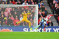 Stoke's Mame Biram Diouf scores his sides second goal - Stoke City vs. West Ham United - Barclay's Premier League - Britannia Stadium - Stoke - 01/11/2014 Pic Philip Oldham/Sportimage