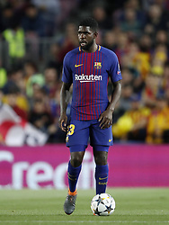Samuel Umtiti of FC Barcelona during the UEFA Champions League quarter final match between FC Barcelona and AS Roma at the Camp Nou stadium on April 04, 2018 in Barcelona, Spain.