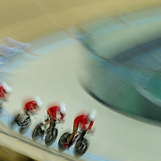 Track Cycling - Olympics: Day 6  Yang Fan #80, Has Liu #81, Chenlu Qin #82 and Pingan Shen #83 of the People's Republic of China in action during the Men's Team Pursuit first round in the track cycling competition at the Rio Olympic Velodrome August 12, 2016 in Rio de Janeiro, Brazil. (Photo by Tim Clayton/Corbis via Getty Images)