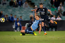 April 28, 2018 - Sydney, NSW, U.S. - SYDNEY, NSW - APRIL 28: Melbourne Victory midfielder Terry Antonis (24) scores the winning goal at the A-League Soccer Semi Final Match between Sydney FC and Melbourne Victory on April 28, 2018 at Allianz Stadium in Sydney, Australia. (Photo by Speed Media/Icon Sportswire) (Credit Image: © Speed Media/Icon SMI via ZUMA Press)