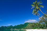 beach in Moorea, Hotel Sofitel la Ora<br /> in the background, Moorea, Society Islands,<br /> French Polynesia, ( South Pacific Ocean )