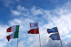 England and Italy flags fly outside Wembley Stadium ahead of the match