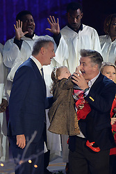 November 30, 2016 - New York, NY, USA - November 30, 2016  New York City..Bill de Blasio, Carmen Baldwin, Alec Baldwin on stage at The Rockefeller Center Christmas Tree lighting ceremony on November 30, 2016 in New York City. (Credit Image: © Callahan/Ace Pictures via ZUMA Press)