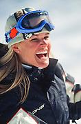 Megan Brown enjoying a sunny ski day.