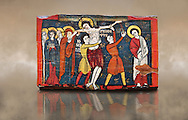 Romanesque painted Beam depicting The Passion and the Stations of the Cross<br /> <br /> Around 1192-1220, Tempera on wood from Catalonia, Spain.<br /> <br /> Acquisition of Museums Board's campaign in 1907. MNAC 15833.<br /> <br /> It is not known what was the original location of the beam, but it might have been part of the structure of a canopy. In any case, it was reused in a ceiling, as evidenced by the cuts that are at the top. It is decorated with seven scenes from the Passion and Resurrection of Christ, this scene shows Christ being removed from the Cross. The narrative character in the images and the predominance of yellow is typical of Catalan painting of the 1200's,  specifically with illustrations of Liber Feudorum Maior, a late twelfth-century illuminated cartulary book style of the Crown of Aragon .<br /> <br /> If you prefer you can also buy from our ALAMY PHOTO LIBRARY  Collection visit : https://www.alamy.com/portfolio/paul-williams-funkystock/romanesque-art-antiquities.html<br /> Type -     MNAC     - into the LOWER SEARCH WITHIN GALLERY box. Refine search by adding background colour, place, subject etc<br /> <br /> Visit our ROMANESQUE ART PHOTO COLLECTION for more   photos  to download or buy as prints https://funkystock.photoshelter.com/gallery-collection/Medieval-Romanesque-Art-Antiquities-Historic-Sites-Pictures-Images-of/C0000uYGQT94tY_Y