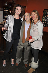 Left to right, VAN KEELING, STEVE RUBIE owner of the 606 Club and JILLY BURNET at a party to relaunch PR First London, held at the 606 Club, Lots Road, London SW10 on 16th January 2013.