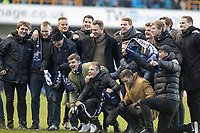 Football - 2016 / 2017 FA Cup - Fifth Round: Millwall vs. Leicester City <br /> <br /> A group of fans pose for a picture on the pitch at the final whistle at The Den<br /> <br /> COLORSPORT/DANIEL BEARHAM