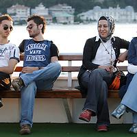 Istanbul, Turkey 06 July 2005 <br /> Scene on a boat in the Bosphorus strait.  <br /> Photo: Ezequiel Scagnetti
