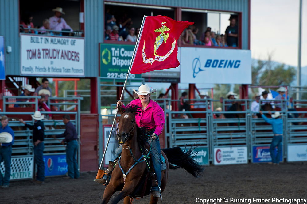 Opening Flags at the Helena MT Last Chance Stampede 2nd perf July 26th 2019.  Photo by Josh Homer/Burning Ember Photography.  Photo credit must be given on all uses.