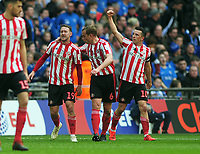 Football - 2019 EFL Checkatrade Trophy Final - Sunderland vs. Portsmouth<br /> <br /> Aiden McGeady of Sunderland celebrates scoring his first half goal from a free kick with team mates, at Wembley.<br /> <br /> COLORSPORT/ANDREW COWIE