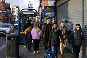 Group of young men of college age out and about on Kings Heath High Street on 13th March 2020 in Birmingham, United Kingdom. Kings Heath is a suburb of Birmingham, three miles south of the city centre. It is the next suburb south from Moseley.
