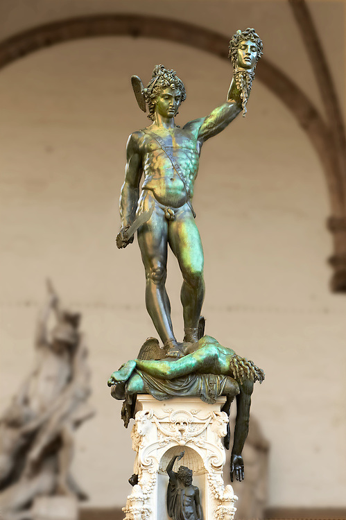 Benvenuto Cellini's Perseus with the Head of Medusa. The Loggia dei Lanzi, also called the Loggia della Signoria, Piazza della Signoria in Florence, Italy, .<br /> <br /> Visit our ITALY PHOTO COLLECTION for more   photos of Italy to download or buy as prints https://funkystock.photoshelter.com/gallery-collection/2b-Pictures-Images-of-Italy-Photos-of-Italian-Historic-Landmark-Sites/C0000qxA2zGFjd_k<br /> .<br /> <br /> Visit our EARLY MODERN ERA HISTORICAL PLACES PHOTO COLLECTIONS for more photos to buy as wall art prints https://funkystock.photoshelter.com/gallery-collection/Modern-Era-Historic-Places-Art-Artefact-Antiquities-Picture-Images-of/C00002pOjgcLacqI