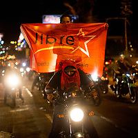 During a demonstration against Juan Orlando Hernández, marchers were accompanied by a large group of motorcyclists.
