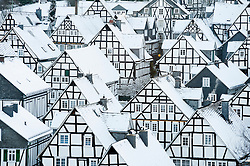 Winter view of snow covered old houses in Freudenberg Germany