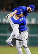 PITTSBURGH, PA - OCTOBER 7:  Jake Arrieta #49 of the Chicago Cubs celebrates with Anthony Rizzo after beating the Pittsburgh Pirates 4-0 the National League Wild Card Game on Wednesday, October 7, 2015 at PNC Park in Pittsburgh, Pennsylvania. (Photo by Joe Sargent/MLB Photos via Getty Images) *** Local Caption *** Jake Arrieta;Anthony Rizzo
