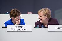22 NOV 2019, LEIPZIG/GERMANY:<br /> Annegret Kramp-Karrenbauer (L), CDU Bundesvorsitzende und Bundesverteidigungsministerin, und Angela Merkel (R), CDU, Bundeskanzlerin, im Gespraech, CDU Bundesparteitag, CCL Leipzig<br /> IMAGE: 20191122-01-260<br /> KEYWORDS: Parteitag, party congress, Gespräch