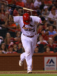 July 28, 2017 - St. Louis, MO, USA - The St. Louis Cardinals' Yadier Molina slams his bat down after flying out in the eighth inning against the Arizona Diamondbacks at Busch Stadium in St. Louis on Friday, July 28, 2017. The Cards won, 1-0. (Credit Image: © Christian Gooden/TNS via ZUMA Wire)