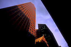 Stock photo of Bank of America Center in foreground and Pennzoil Place in center Houston, Texas